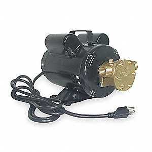 7.2/3.6 Amps 1/3 HP Flexible Impeller Pump, 21.6 psi, 1/2 NPT x 3/4 GHT