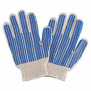 Natural/Blue Abrasion Resistant Knit Gloves, Polyester/Cotton, Size S