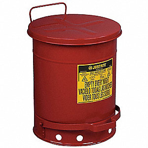 Floor Oily Waste Can, 10 gal., Galvanized Steel, Red, Foot Operated Self Closing