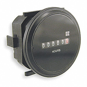 Hour Meter, 120 to 240VAC Operating Voltage, Number of Digits: 6, Round Bezel Face Shape