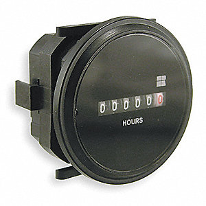 Hour Meter, 10 to 80VDC Operating Voltage, Number of Digits: 6, Round Bezel Face Shape