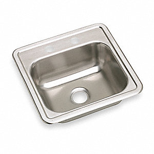 "15"" x 15"" x 5-3/16"" Drop-In Sink with Faucet Ledge with 12"" x 10"" Bowl Size"