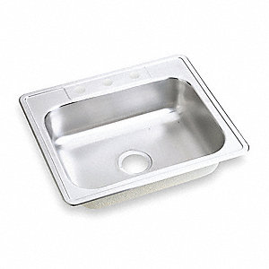"25"" x 22"" x 6-9/16"" Drop-In Sink with Faucet Ledge with 15-3/4"" x 21"" Bowl Size"