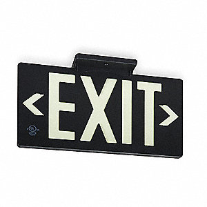 Exit Sign,8-3/4 x 15-3/8In,WHT/BK,Exit