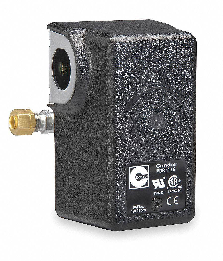 Air Compressor Pressure Switch; Range: 25 to 160 psi, Port Type: (1) Port, 1/4 In FNPT