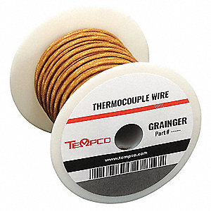 Thermocouple Wire,  20 AWG,  Fiberglass,  K,  250 ft.,  Brown