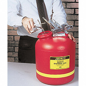 Safety Disposal Can, 5 gal., Corrosives, Flammables, Polyethylene, Red