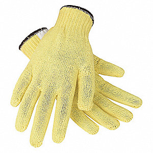 Uncoated Cut Resistant Gloves, ANSI/ISEA Cut Level 2, Kevlar® Lining, Yellow, L, PR 1