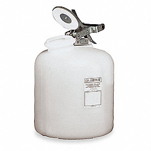 Safety Disposal Can, 2 gal., Corrosives, Polyethylene, White