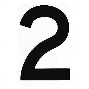 "Carded Number, 2, Black, 4"" Character Height, 10 PK"