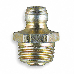 "1/8""-27-PTF Straight Head Angle, Standard Grease Fitting, Zinc-Plated Steel, 1/2""L, 8000 psi, PK10"