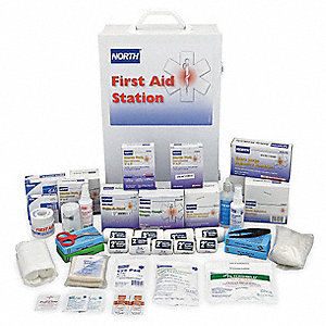 First Aid Kit, Cabinet, Steel Case Material, General Purpose, 150 People Served Per Kit