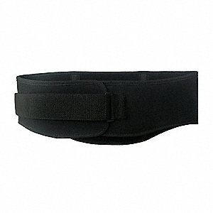 "Black Nylon Back Support with Lumbar Pad, Back Support Size: 2XL, 7-5/8"" Width, Fits Waist Size 42"""