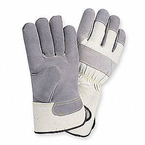 Cowhide Leather Palm Gloves with Safety Cuff, Gray, S