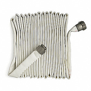 "Pin Rack Fire Hose, Single Jacket, 1-1/2"" Hose Inside Dia., 50 ft., White"
