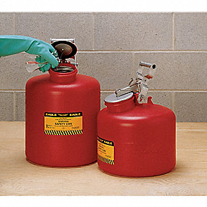 5 gal. Polyethylene Safety Disposal Can with Free Swinging Handle, Red