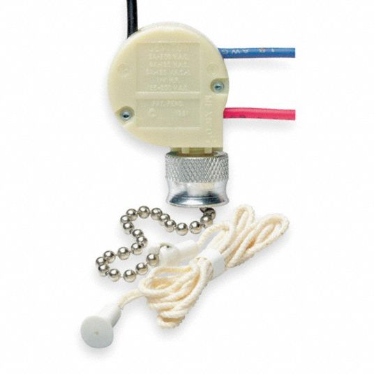 LEVITON Pull Chain Fixture Switch, 4 Position, SP3T, Number of Connections  3, OFF, 1 ON, 2 ON, 1 & 2 ON - 3AY52|1689-50 - GraingerGrainger