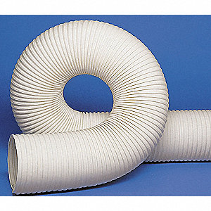 "25 ft. Thermoplastic Rubber Industrial Ducting Hose with 4.3"" Bend Radius, White"