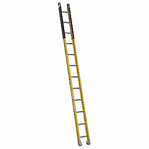 "12 ft. Fiberglass Manhole Ladder, 375 lb. Load Capacity, 12-3/8"" Overall Width, Rung Shape: Round"
