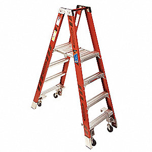 Fiberglass Twin Platform Stepladder, 6 ft. Ladder Height, 4 ft. Platform Height, 300 lb.