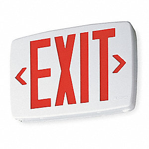 1 or 2 Face LED Exit Sign, White Plastic Housing, Red Letter Color