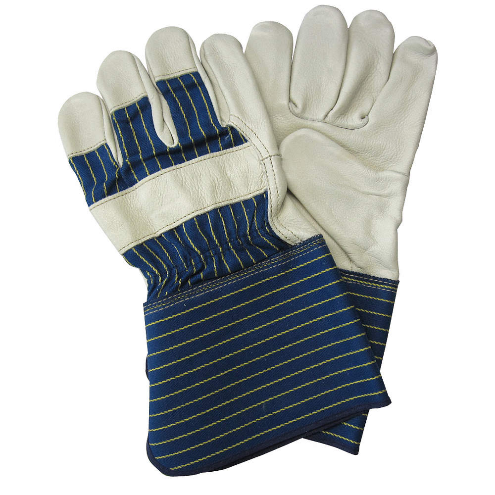 Cowhide Leather Work Gloves, Gauntlet Cuff, Blue/Gold, Size: L, Left and  Right Hand