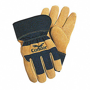 Cold Protection Gloves, Soft Brushed Nylon Lining, Safety Cuff, Black/Sand, XL, PR 1