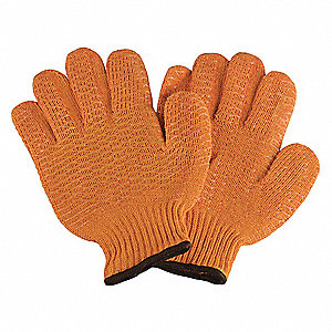 Knit Gloves, Acrylic/Polyester Material, Knit Wrist Cuff, Orange, Glove Size: L