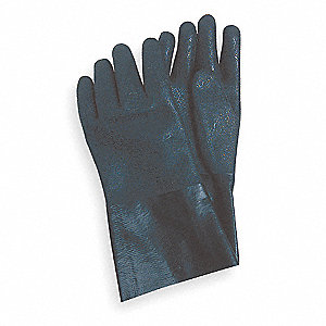 PVC Chemical Resistant Gloves, Black, Size L, 1 PR