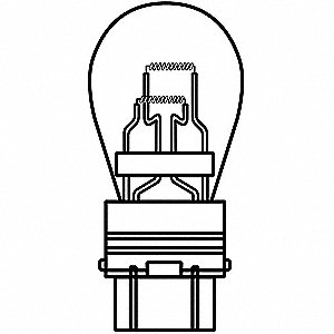 Trade Number 3357/3457, 8/27 Watts Miniature Incandescent Bulb, S8, Plastic Wedge Double Filament (W