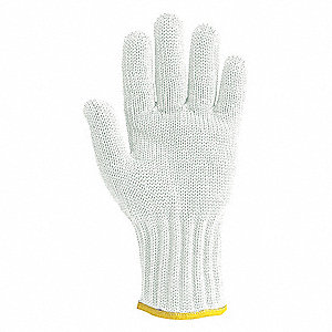 Uncoated Cut Resistant Glove, ANSI/ISEA Cut Level 5, Dyneema® Lining, White, XS, EA 1