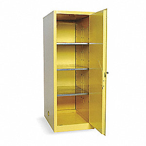 "23"" x 34"" x 65"" Galvanized Steel Flammable Liquid Safety Cabinet with Manual Doors, Yellow"