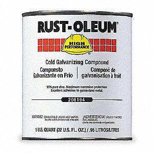Rust Oleum Interior Exterior Cold Galvanizing Compound With  Sq Ft Gal Coverage Metallic Gray 1 3bu17206194t Grainger