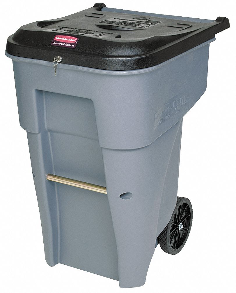 RUBBERMAID BRUTE® 95 gal. Rectangular Flat Top Roll Out Confidential ...