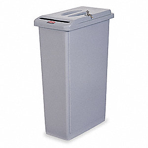 23 gal. Rectangular Gray Confidential Waste Container