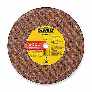 "12"" Type 1 Aluminum Oxide Abrasive Cut-Off Wheel, 1"" Arbor, 0.125""-Thick, 6400 Max. RPM"