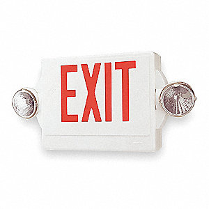 Exit Sign w/Emergency Lights,3.3W,Red