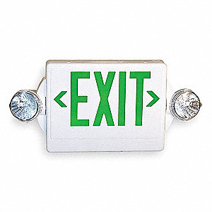 Exit Sign w/Emergency Lights,3.3W,Grn