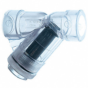 "1-1/4"" Y Strainer, Threaded, 1/32"" Mesh, Clear PVC"