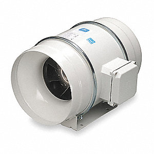 "Metal Mixed Flow Duct Fan, Fits Duct Dia. 12"", Voltage 120V"