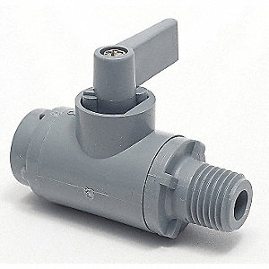 "PVC FNPT x MNPT Ball Valve, Wedge, 1/4"" Pipe Size"