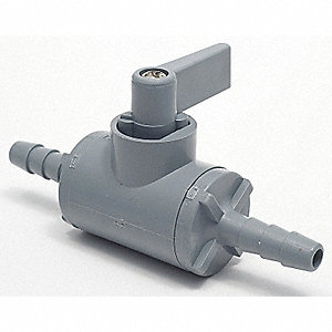 "PVC Barb x Barb Ball Valve, Wedge, 1/2"" Pipe Size"