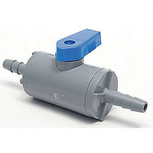 "PVC Barb x Barb Ball Valve, Long, 1/2"" Pipe Size"