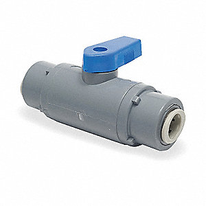 "PVC Push Ball Valve, Long, 3/8"" Pipe Size"