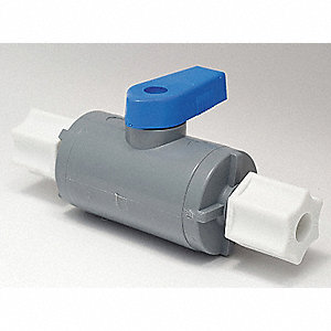 "PVC Comp. x Comp. Ball Valve, Long, 1/4"" Pipe Size"