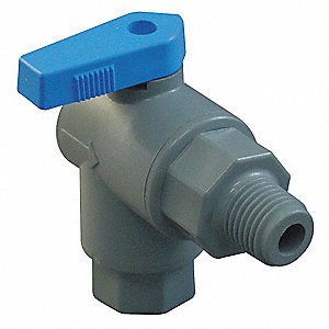 "PVC MNPT x Barb Ball Valve, Long, 1/4"" Pipe Size"