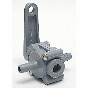PVC Ball Valve,Inline,Barb x Barb,1/2 in