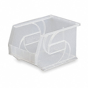 "Hang and Stack Bin, Clear, 14-3/4"" Outside Length, 8-1/4"" Outside Width, 7"" Outside Height"