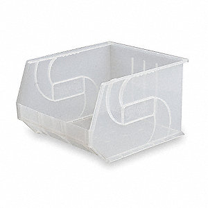 "Hang and Stack Bin, Clear, 18"" Outside Length, 16-1/2"" Outside Width, 11"" Outside Height"