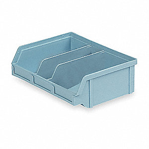 "Hang and Stack Bin, Light Blue, 6-5/8"" Outside Length, 8-3/4"" Outside Width, 2-7/8"" Outside Height"